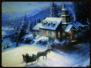 LED CANVAS PICTURE SNOW SCENE DF15456